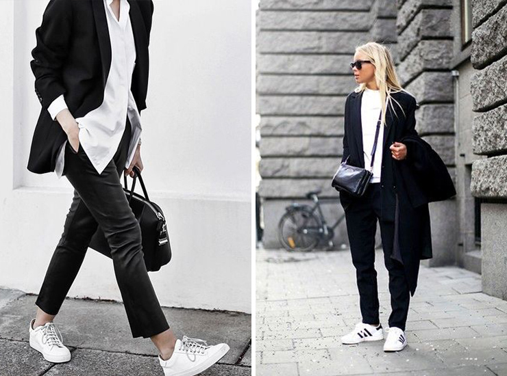 adidas, white sneakers, bloglovin, leather pants, street style