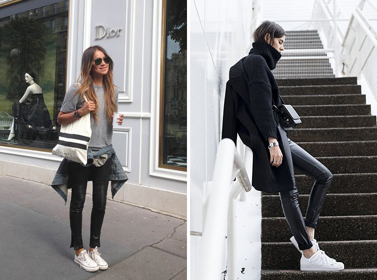 white sneaker style, leather pants, sincerely jules, street style