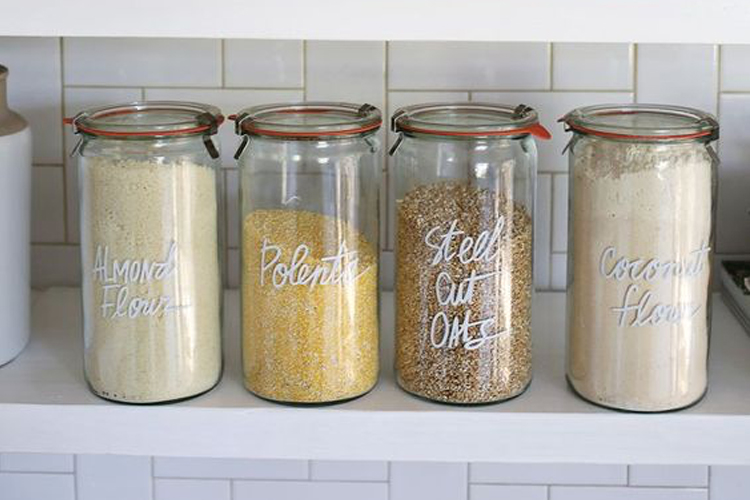 food storage, food organisation, pantry organisation, food labels, jars, tupperware, food waste