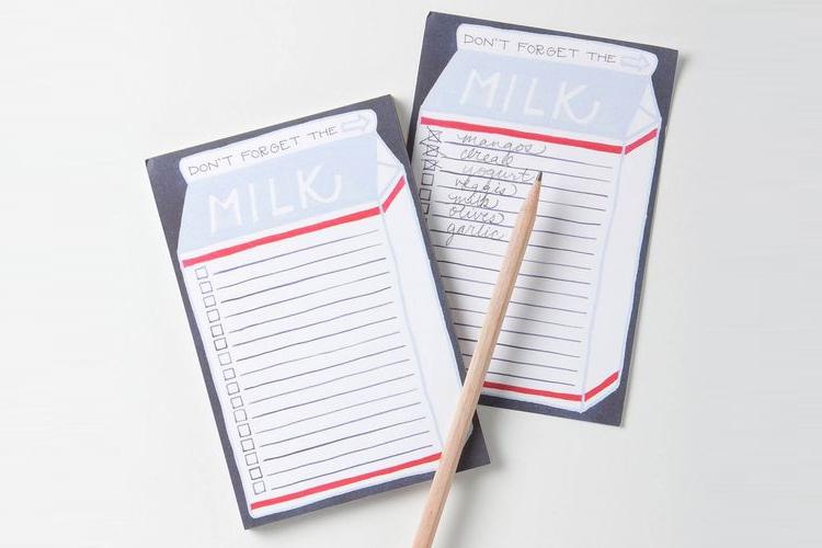 grocery list, shopping list, letterpress, food waste
