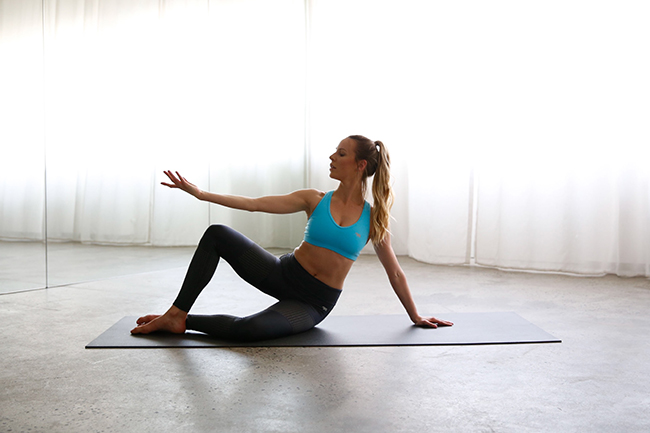 pilates precision, side bend exercise, one hot yoga and pilates, one hot yoga, pilates workout