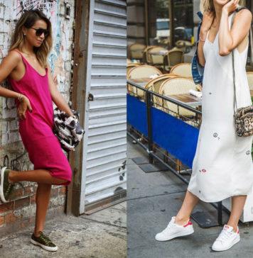 Slip dress, sneakers, fashion, trend
