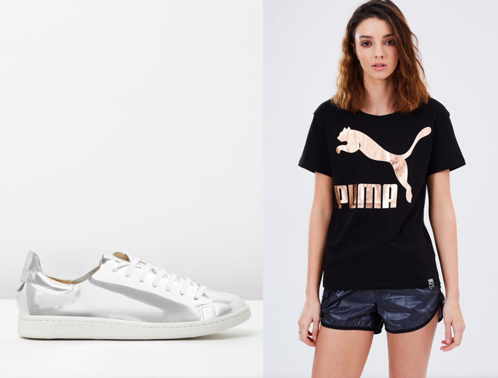 gold shorts by puma, puma archive logo tee, the iconic, shutz metallic sneakers