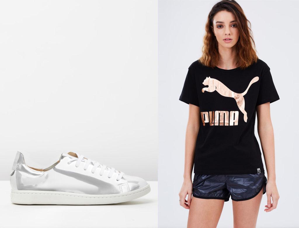 gold shorts by puma, puma archive logo tee, the iconic, shutz metallic sneakers