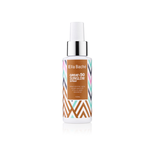 Ella Baché Great SPF 50 Sunglow Shimmer, sunscreen mist, beach, sun protection