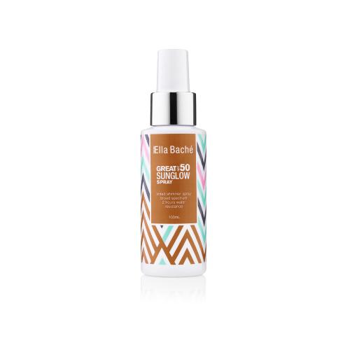 Ella Baché Great SPF 50 Sunglow Shimmer, sunscreen mist, beach, sun protection