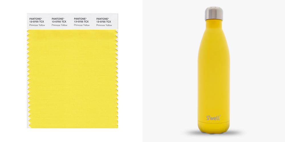 Primrose Yellow, Pantone, colours, water bottle