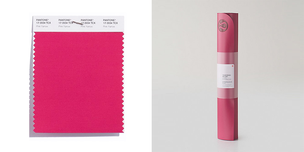 pink yoga mat, Lululemon, Pantone, colours