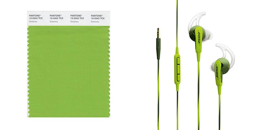 Greenery, wireless headphones, Pantone, colours