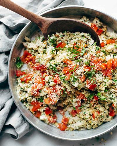 Healthy Garlic Herb Chicken Salad, chicken recipes, Pinch of Yum