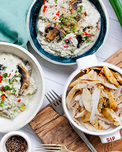 Low-Carb Chicken, Cauliflower and Mushroom Risotto, chicken recipe