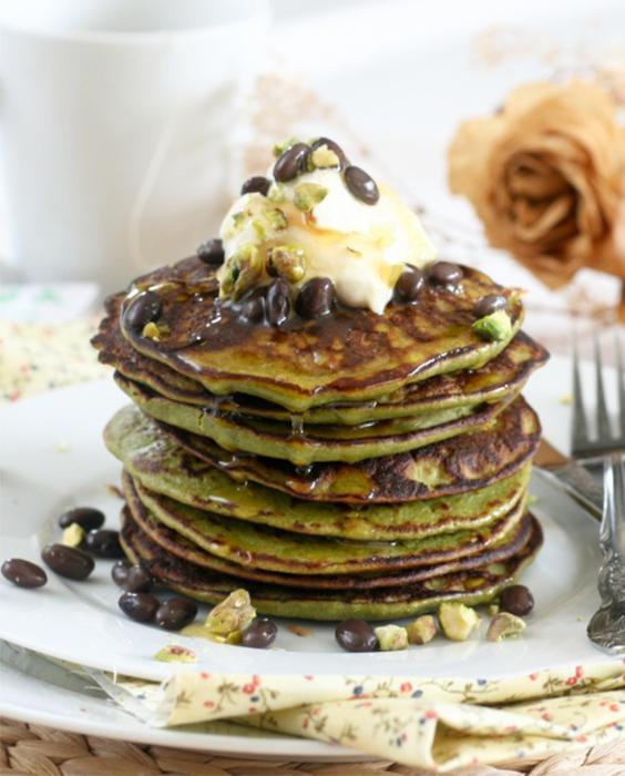 pancakes, healthy pancakes, matcha pancakes