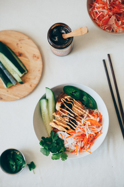 my name is yeh, lemongrass chicken bahn mi bowl, bahn mi recipe, nourish bowl
