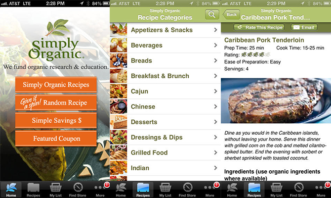 Simply Organic, recipe apps, healthy recipes, dinner, lunch, breakfast