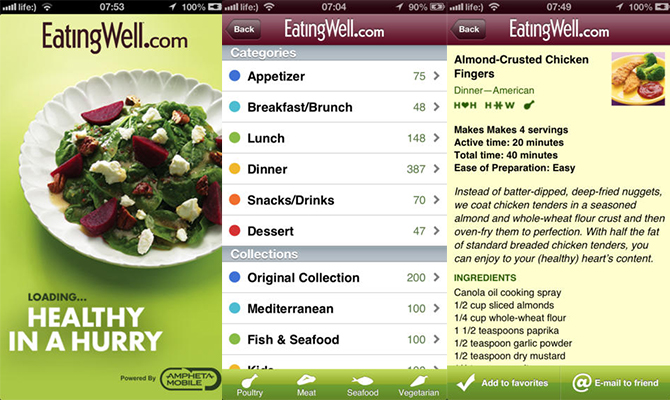 Healthy in a hurry, eating well, recipe apps