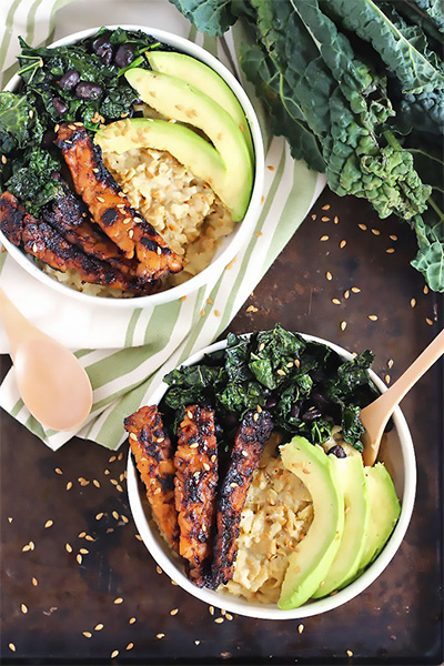 Savoury Oatmeal With Tempeh Bacon, breakfast recipes, probiotics