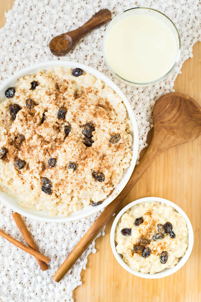 healthy holiday treats, healthy christmas desserts, healthy eggnog rice pudding