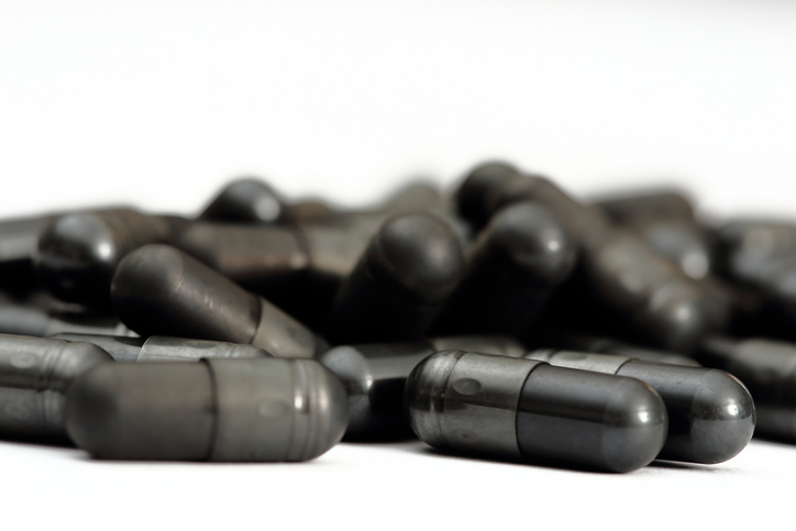 Activated Charcoal Capsules, close up, hangover