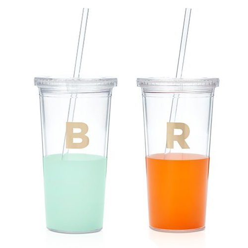 kate spade dipped initial tumblers, pool party essentials,