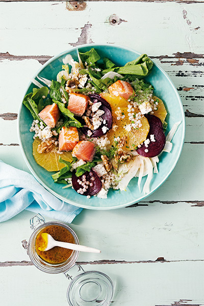 salad recipe, salmon, Kayla Itsines