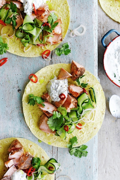 five spice salmon tacos, salmon taco recipe, jamie oliver salmon tacos