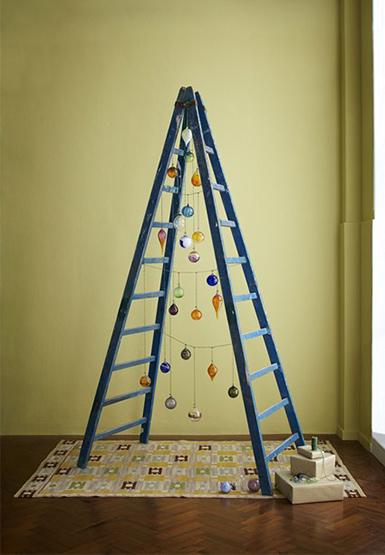 Christmas tree, step ladder, lights