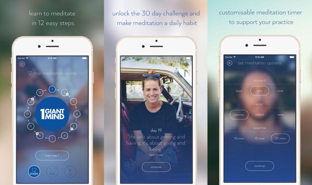 1 giant mind, meditation app