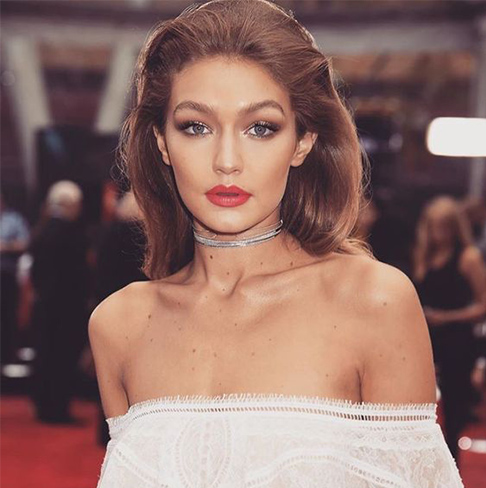 Gigi Hadid, hair trends, combed back hair