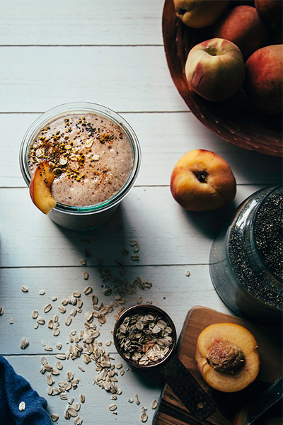 Peach Crumble Shake, smoothie recipes, dairy-free, vegan
