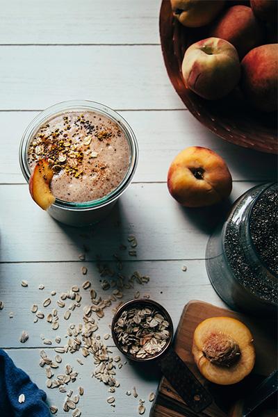 Peach Crumble Shake, smoothie recipes, dairy-free, vegan