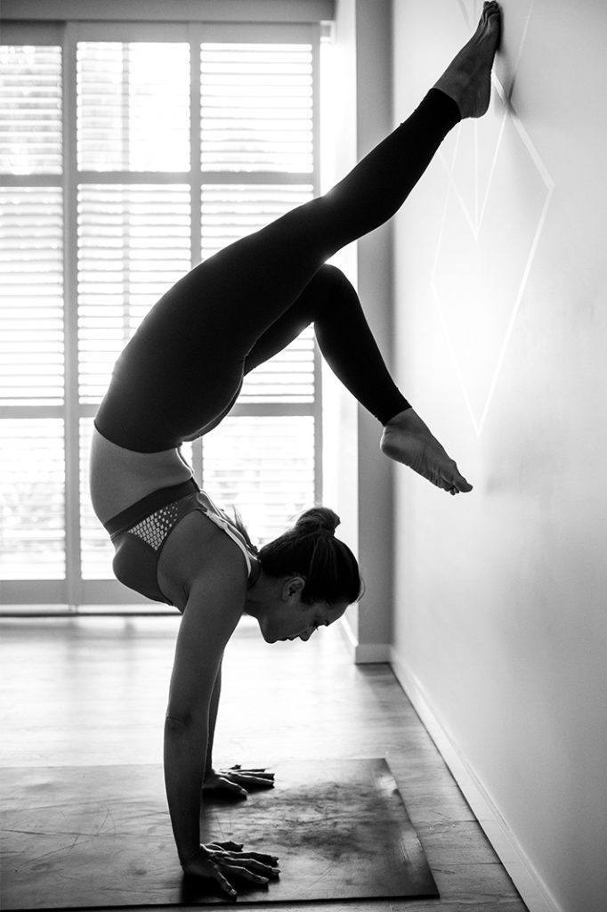 Bianca Cheah practicing at The Flow State Co Yoga Studio Kingscliff Australia