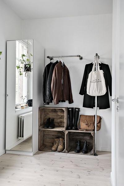 clothes rack, ikea, stylish bedroom