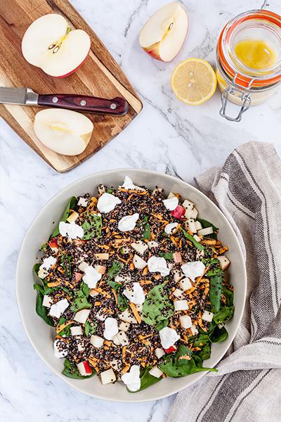 amelia phillips, black quinoa salad, healthy lunch