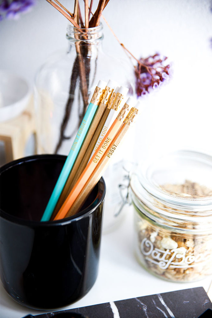 Inspirational word pencils from Etsy