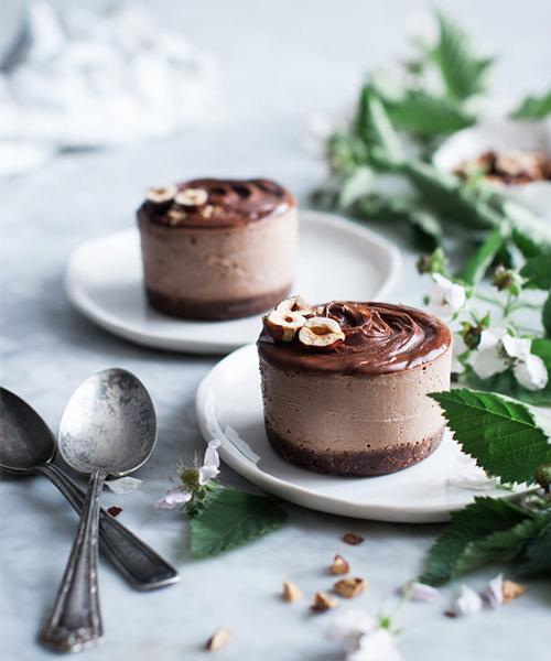 Raw Vegan Chocolate Hazelnut Ice Cream Cakes, dessert