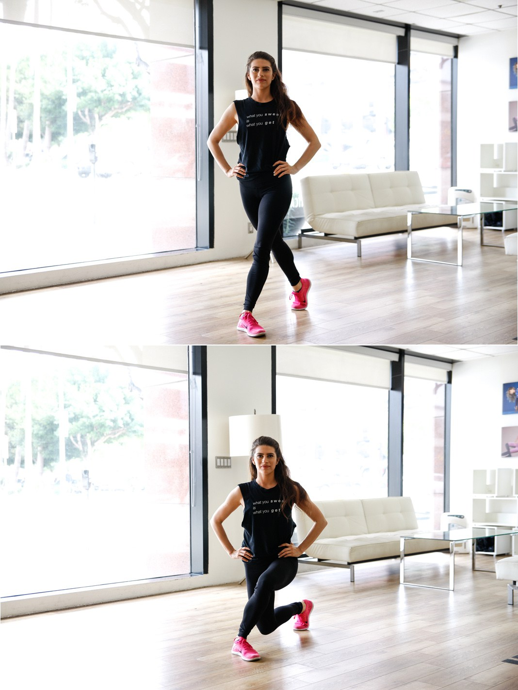 Curtsy lunge, fitness, butt workout, equipment