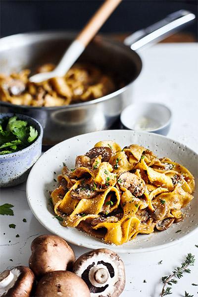Mushroom Stroganoff, vegan pasta