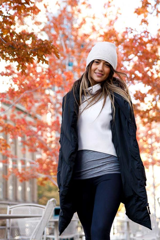 Bianca Cheah in her Carbon38 winter jacket