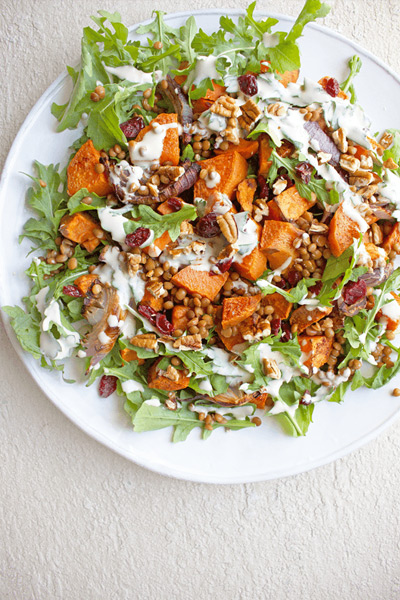 Thanksgiving sides, Cinnamon-Roasted Sweet Potato Salad With Cranberries & Pecans