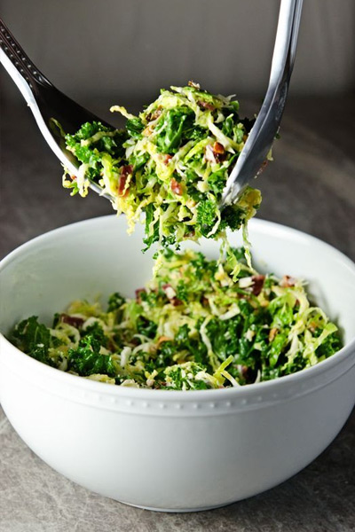 Thanksgiving sides, Kale and Brussels Sprouts Salad w/ Bacon and Pecorino