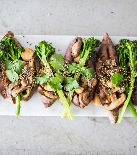 Try This Umami-Packed, Vegan Recipe: Sweet Potatoes Stuffed With Miso Mushroom