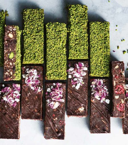 We Can't Decide Between Donna Hay's Raw Pistachio & Cranberry Brownies OR Raspberry & Rose Fudge
