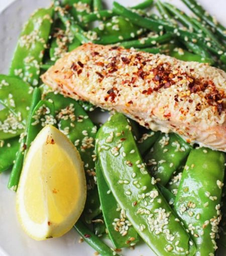 Make This Simple Gut-Healing Sesame-Crusted Salmon With Ginger Greens