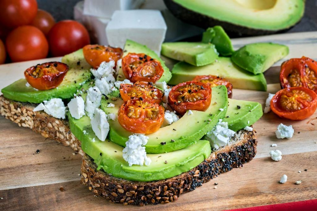 healthy breakfast ideas tomato avocado fetta on toast
