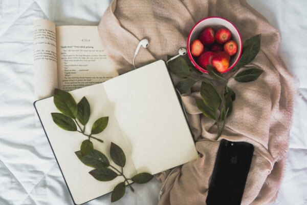 Flatlay of a book, notepad, bowl of strawberries and a phone switched off.