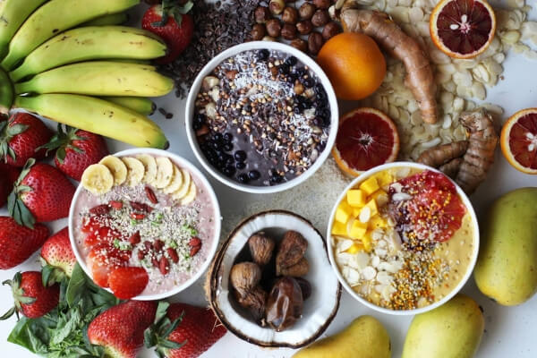 Image of a spread of fresh, breakfast foods.