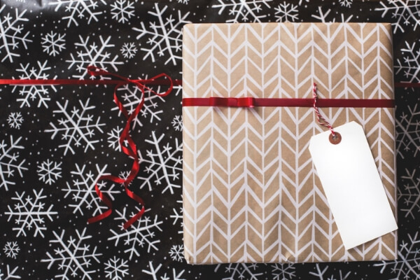 Wrapped gifts with ribbon eco-friendly christmas