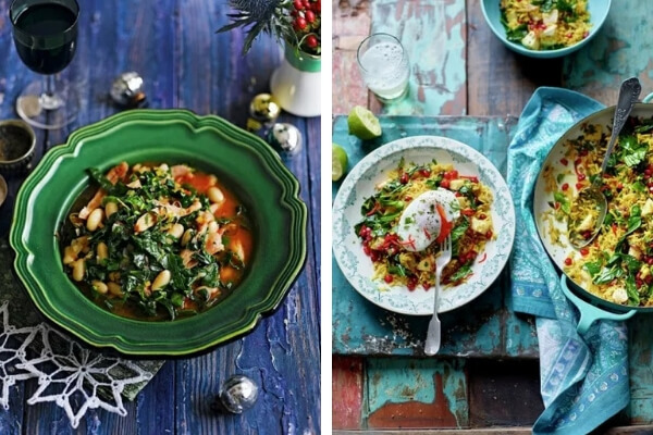 Two images of recipes for using up Christmas leftovers.