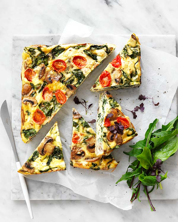 Mushroom, Spinach & Goat's Feta Slice