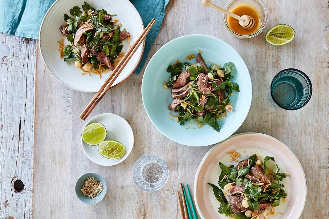 Recipe: Manuka Honey Grilled Lamb Salad & Crispy Noodle
